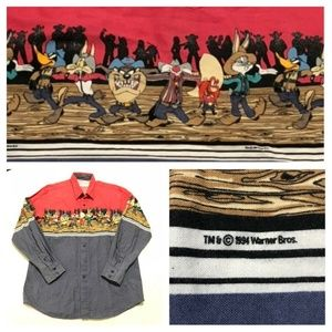 Vintage Looney Tunes Western Button Front shirt
